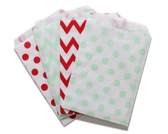 Party Favor Bag, Paper Favor Bags, Red and Mint Green Polka Dot Chevron Paper Favor Bags, Baby Shower, 1st birthday Treat Bag, Wedding Favor
