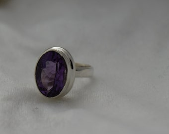 Sterling Silver Faceted Amethyst Ring Size 5