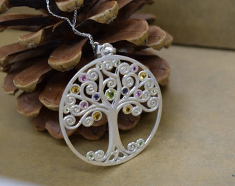 Sterling Silver Tree of Life with Stones Includes Chain