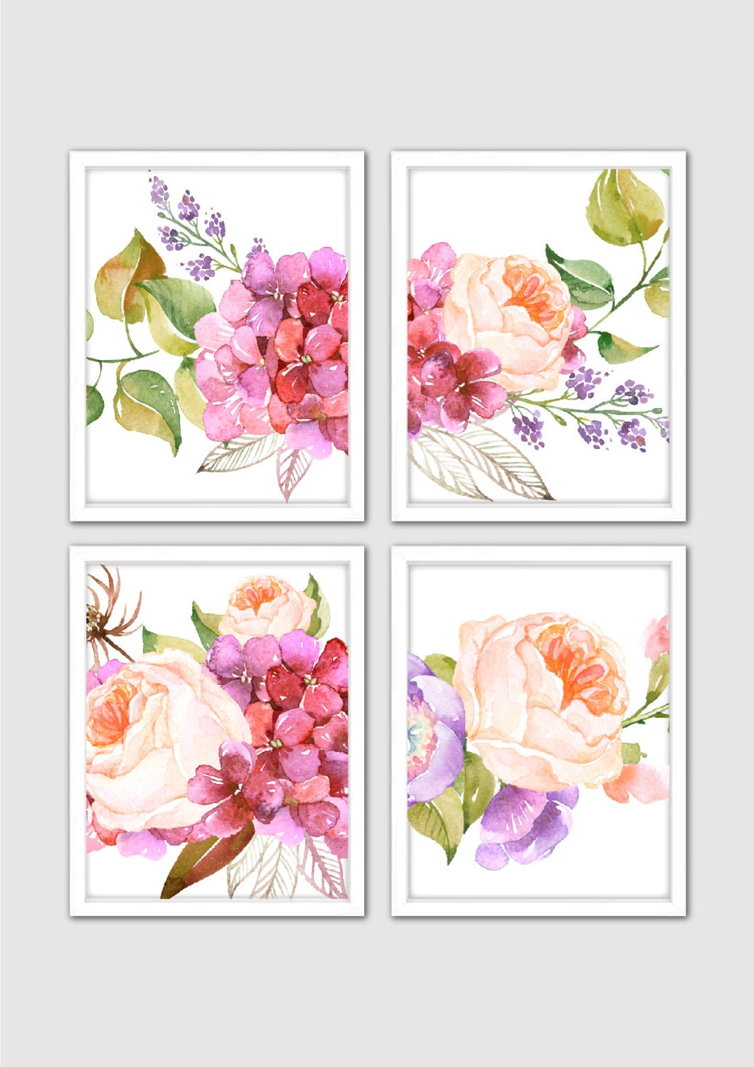 Watercolor sweet dreams floral prints floral nursery print for Art sites like etsy