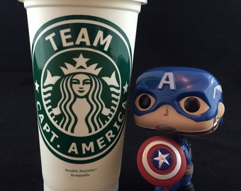 "Captain America Civil War inspired ""Team Captain America"" Starbucks Travel Cup"