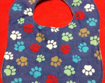 Reversible Paw Print Boutique Baby Bib