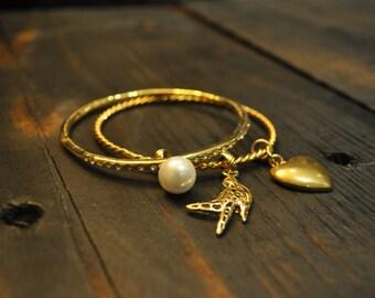 Gold Tone Bangles, Double Bracelet, Charm Bracelet, Heart Charm, Bird Charm, Sparrow, Swallow, Designer Inspired, Trendy, Everyday