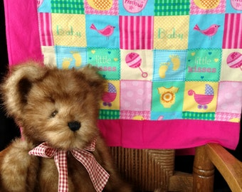 Girl's Duck/ Rattle Print Cotton Flannel Baby Blanket