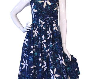 Vintage 1950s Alfred Shaheen Hand Printed Tiare Tapa Blue Hawaii Print Cotton Sun Dress UK 8