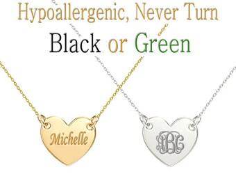 Custom Name , Custom Monogram Necklace, Monogram Necklace, Name Necklace, Initial Necklace, Heart Pendant Necklace, bridesmaid gift, Wedding
