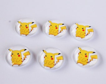 FREE SHIPPING AUS - Pokemon Pikachu Glass Magnets - 6 Piece Magnet Set - 20mm - Super Strong - Gamer Gift - Quirky Office Accessories