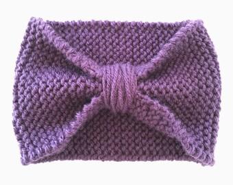 Head wrap, knit head wrap, head band, knit headband, women's headband,ear warmers,ear warmer,purple headband, cinched headband, turban, wrap