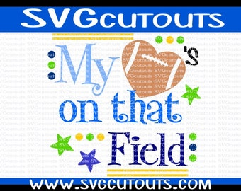 Football Mom My Hearts On That Field Design, SVG DXF EPS Formats, Files for Cutting Machines Cameo or Cricut Football Mom Fan Cutting File