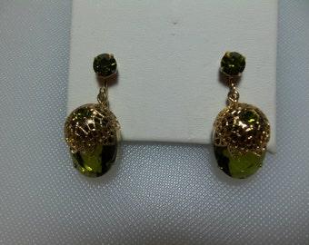 "Gold Tone Olive Green Rhinestone Filigree Dangle Earrings Sarah Coventry ""Touch of Elegance"" Circa 1971"