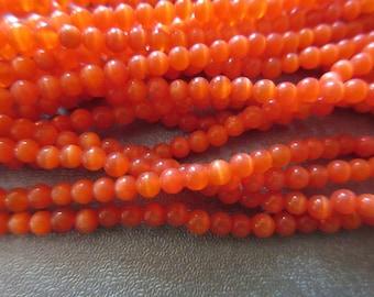 Fire Orange Cat's Eye Round 3mm Beads 130pcs