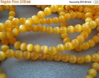 ON SALE Yellow Cat's Eye Round 4mm Beads 105pcs