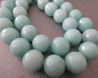 Teal Agate Faceted 10mm Round Beads 37pcs