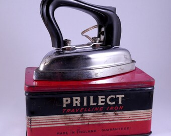 Vintage Prilect travelling  iron, Bakelite handle with metal tin, 1940's, T. Price and Son