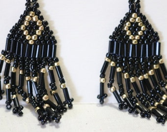 Hand stitched beaded earrings black and gold