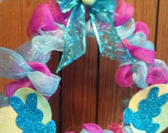 Easter Deco Mesh Wreath with bunnies and eggs