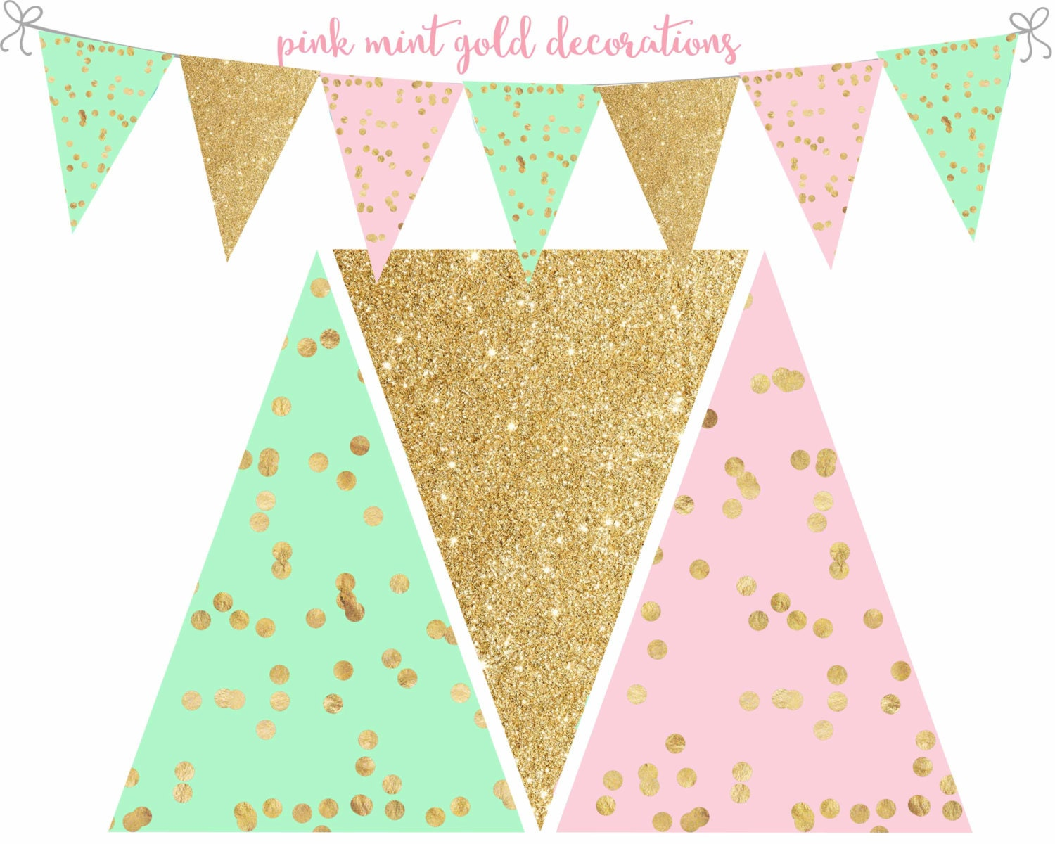 Pink Mint and Gold Banner Pink Mint and Gold printable banner