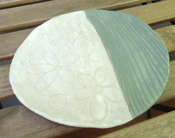 teal and white sgraffito flower and line plate - hand built pottery - ceramic