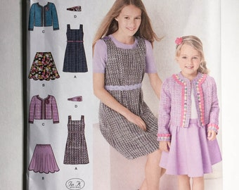Simplicity 1723 Uncut Pattern. Child's & Girl's jumper, skirt, jacket and headband. Sizes 7,8,10,12,14