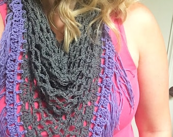 Boho chic fringe scarf, triangle scarf, crocheted scarf, periwinkle, charcoal gray, light weight, cotton blend