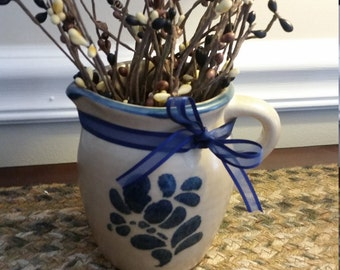 Primitive Ceramic Pitcher with Pip Berries