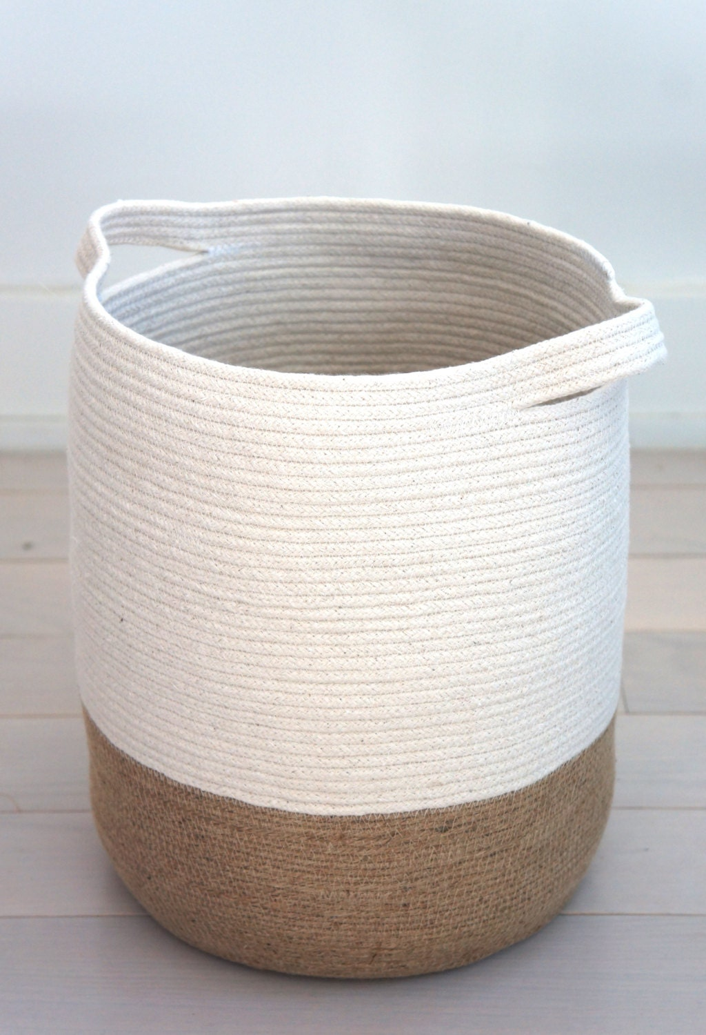 Handmade Cotton Baskets : Small jute and cotton rope basket by yoonmileehome on etsy