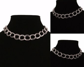 Silver Chain Link Choker Statement Necklace