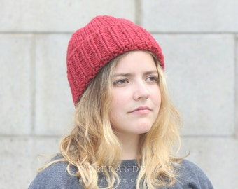 Red knit hat, wool knit hat , red beanie, knit beanie, fisherman beanie, canadian wool // The Classic Cuffed Beanie in Raspberry