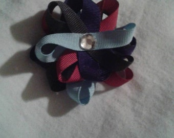 Small Multi Colored Flower Loop Hair Bow 3 niches