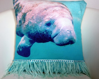 "Manatee Throw Pillow Cover - 18x18"" Pillow Cover - Manatee Throw Pillow - Manatee Photograph - Beach Decor - Kids Room Decor"