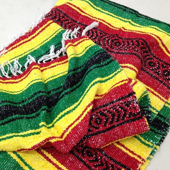 Authentic Mexican Falsa Yoga Blanket Hand Woven Sarape Throw