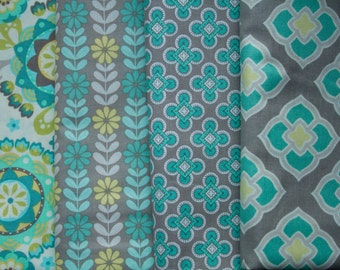 Fat Quarter Bundle Gray, Green, and Turquoise Fabric- 100% Cotton- Apparel Fabric, Crafts- Floral, Geometric, Medallion