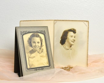 vintage two sepia photographs