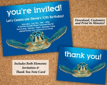 Sea Turtle Underwater Birthday Party Invitation + Thank You Notes | Editable PDF Instant Download | Edit & Print In Minutes!