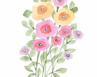 Original watercolor. Bunch of whimsical warm tones. Greeting card