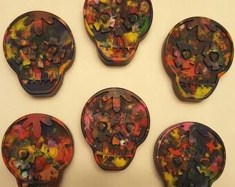 Rainbow sugar skull crayon