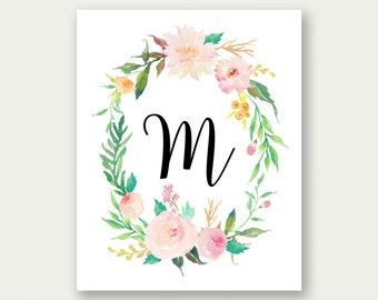 CUSTOM Monogram Wall Art, Floral Monogram, Customized Monogram, Girl's Nursery Print, Baby Name Wall Art, Girl's Monogram, Nursery Art