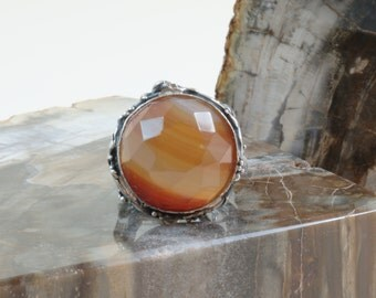 Sterling Silver Carnelian ring 925 Made in Italy