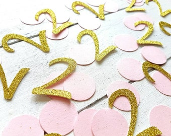 Pink and gold 2 confetti. 50 units. Gold confetti. Second birthday party. 2nd birthday girl. Birthday boy. 3rd, 4th, 5th, 6th, 10th.