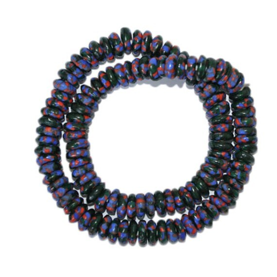 African beads re fashioned glass seed bead discs spacers for Glass discs for crafts