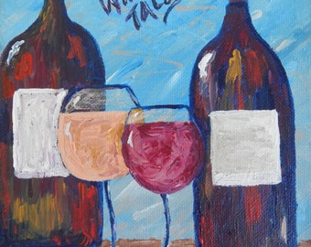 Wine Tales; acrylic painting, wine painting, canvas art