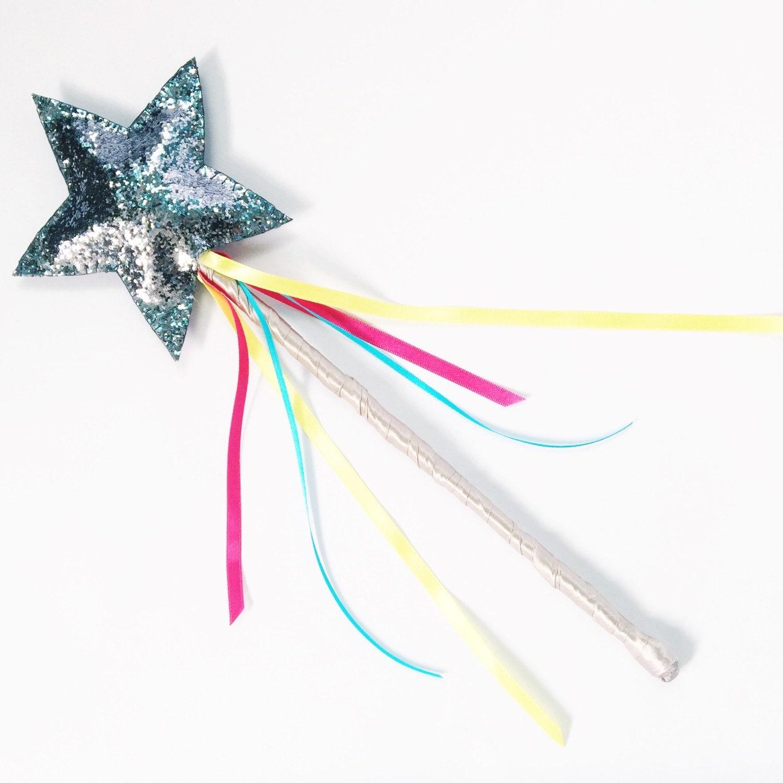 Fairy star wand glitter dress up imaginative play silver for Glitter wand
