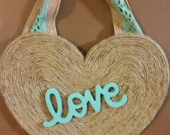"Adorable handmade ""rustic chic"" twine covered heart wall decor ""love"""