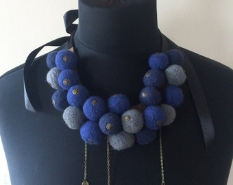 Eco friendly wool felted ball necklace, collar with satin ribbon. Ideal as unique present for her.