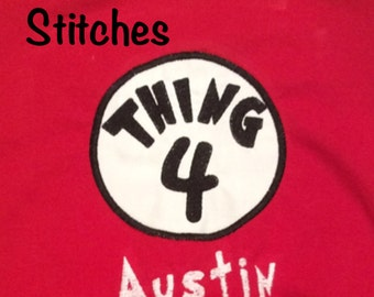 Appliqued Thing 1, 2, 3, 4, 5, Mom or Dad Patch Shirt or Onesie