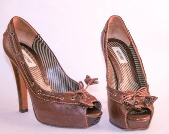 Moschino Heels Vintage Peep Toe / Mocassin / Pumps -37-