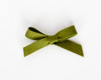 Olive | Felt Hand-tied Bow (Headband or Clip)