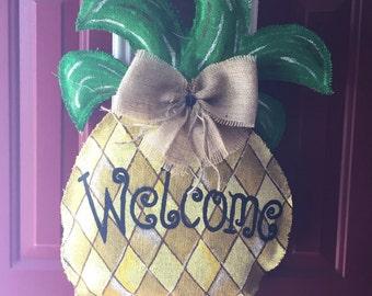Pineapple Burlap Door Hanger