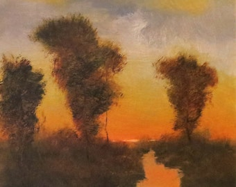 Oil painting landscape  Fall is coming  on stretched canvas 12x12