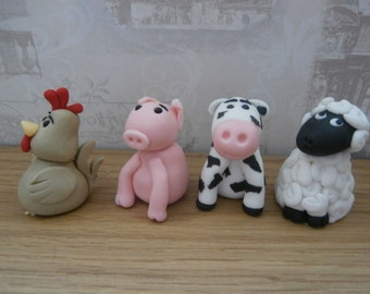 Edible sugar paste Farm animals x 4 characters-cake toppers-birthday/cake decoration